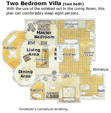 Marriott Grand Chateau 2 Bedroom Villa Floor Plan