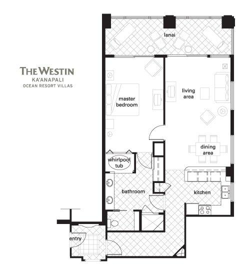Westin Kaanapali Ocean Resort Villas floorplan 1 Bedroom Premium