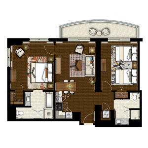 Grand islander by hilton grand vacations floor plans - 1 bedroom apartment salt lake hawaii ...