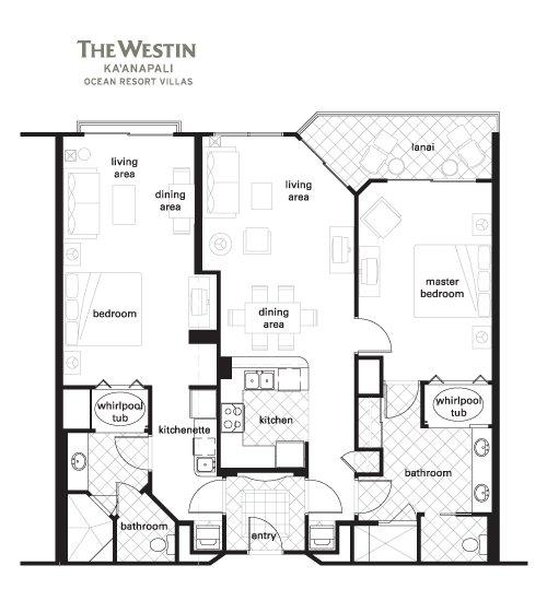 Westin Kaanapali Ocean Resort Villas Floorplan 2 Bedroom Lock Off
