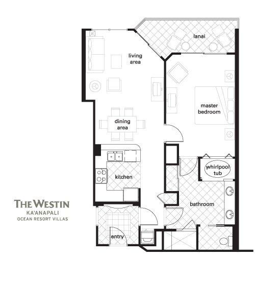 Westin Kaanapali Ocean Resort Villas floorplan 1bdrm(2br lock off)