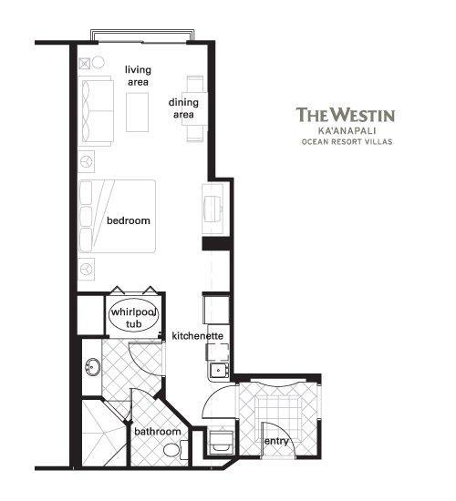 Westin Kaanapali Ocean Resort Villas floorplan studioprem(2br lockoff)